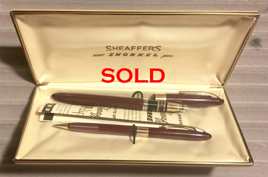 Sold New In Box Maroon Sheaffer Snorkel Set 14k Fine